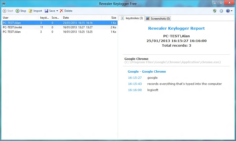 Invisible and free keylogger for Windows